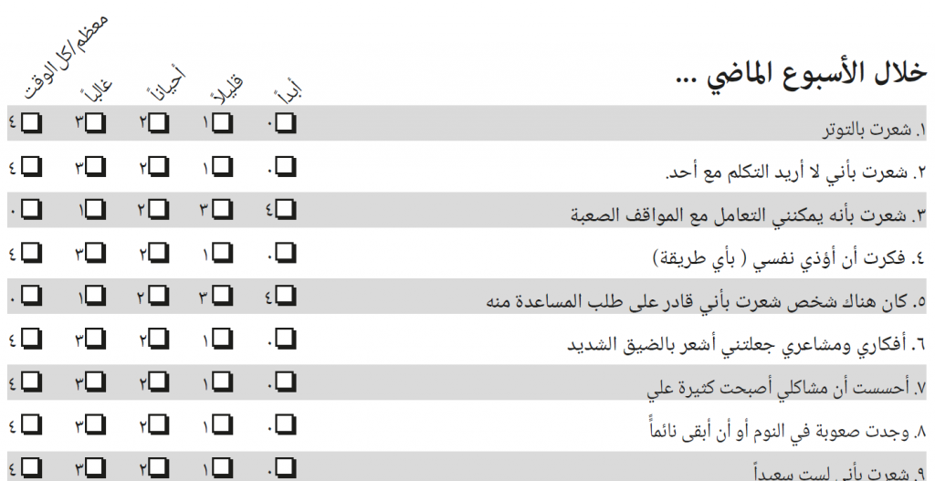 Items of the Arabic YP-CORE with score numbers in Arabic