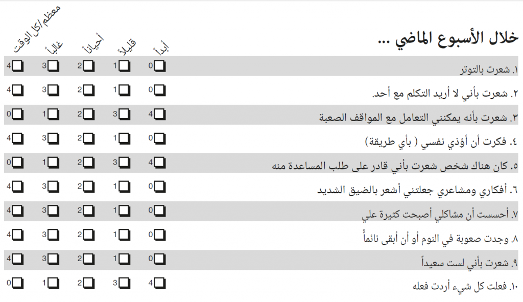Items of the Arabic YP-CORE with score numbers in English