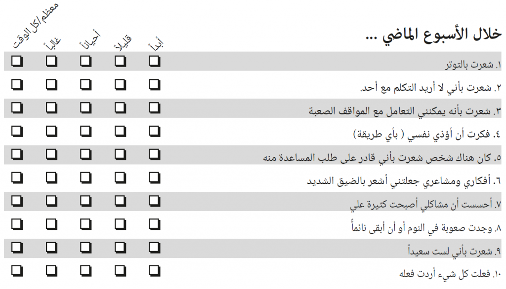 Items of the Arabic YP-CORE without score numbers